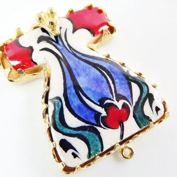Hand painted Turkish Ottoman Caftan Pendant Connector - Blue Tulip Teardrop No: 9 - Cini Ceramic - Gold plated 1pc - GP106