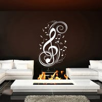 Wall Decal Vinyl Sticker Decals Art Home Decor Mural Note Musical Notes Waves Music Recording Studio Treble Clef Floral Patterns AN145
