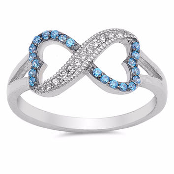 Sterling Silver CZ Simulated Blue Topaz Simulated Diamond Infinity Heart Ring