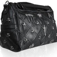 Avber Womens Western Style Cow Leather Cross Studded Multifunctional Motorcycle Shoulder Bag