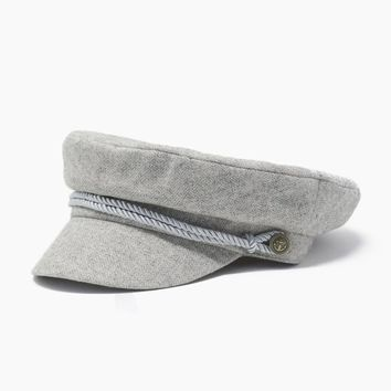 Herringbone Captain Cap - Grey