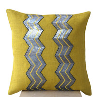 Yellow burlap pillows - Grey sequin chevron cushion -Decorative cushion covers- Throw pillow -18x18- Gift- Yellow gray pillow- Sofa pillow
