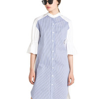 Longline Striped Shirt with Flare Sleeves