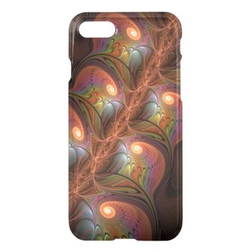 Colorful Fluorescent Abstract Modern Brown Fractal iPhone 8/7 Case