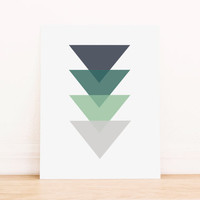 Triangle Blue to Green Geometric Art PRINTABLE Art Dorm Decor Typography Poster Home Decor Office Decor Apartment Poster
