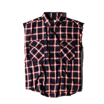 Plaid Extended Cut Off Sleeve Shirt Dark