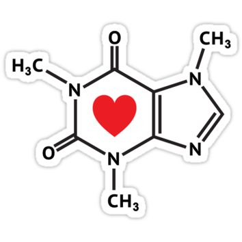 Caffeine molecule with red love heart by Mhea