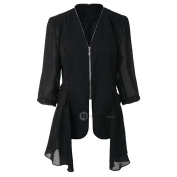 Stylish V-Neck 3/4 Sleeve Chiffon Spliced Zippered Women's Jacket