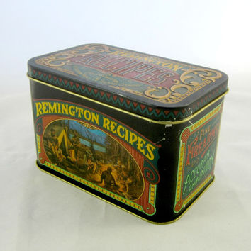 Recipe Box with Game Bird Recipes , Game Animal Recipes , Camping Recipes, Made in England , Large Recipe Box , Metal Recipe Box , Remington