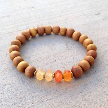 "Sandalwood and Carnelian ""Second Chakra"" Bracelet"
