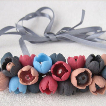 Multicolor bead small delicate bud flowers necklace bright colorful polymer clay jewelry gray blue pink delicate flower buds flower necklace