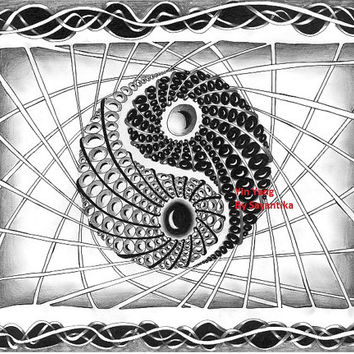 Yin Yang - 9x12 Zentangle drawing / Zentangle Art black and white Abstract illustration  Archival print