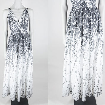 Vintage 70s Dress / 1970s Designer Lilli Diamond Black and White Floral Maxi Dress