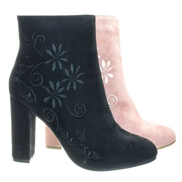 Bestow5 Black By Top Moda, Embossed Floral Embroidery Ankle Bootie w Block Heel, Women Dress Boots