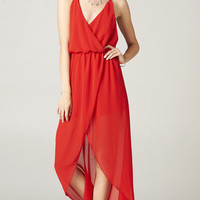 RED CROSSOVER DRAPED DRESS