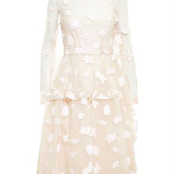 Floral Embroidered Long Sleeve Dress - SIMONE ROCHA