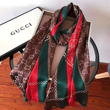 GUCCI Women Men Fashion Stripe Accessories Sunscreen Cape Scarves Silk Scarf