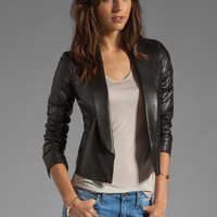 Vince Leather Shawl Collar Jacket in Black from REVOLVEclothing.com