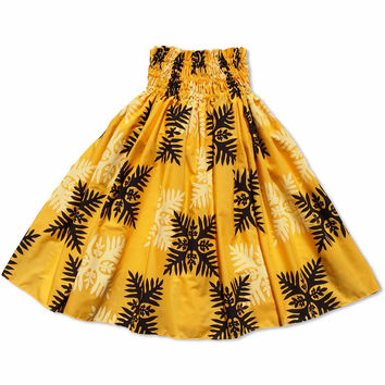 quilt yellow single hawaiian pa'u hula skirt