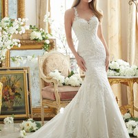 Mori Lee 2876 Embroidered Lace Fit & Flare Wedding Dress