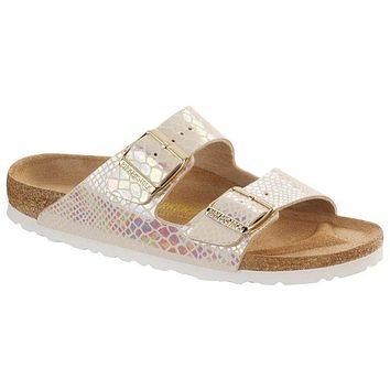 f4fdf27564094 Hot Sale ARIZONA Birkenstock Summer Fashion Leather Sandals For Women Men  color Shiny Snake Cream size