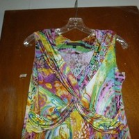 Robert Kitchen Canada Womens Colorful Mock Wrap Bodice Sleeveless M Medium Dress