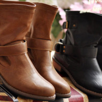 Modern Buckle Strap Mid Calf Boots