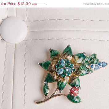 Halloween SALE- Monet Brooch, Green and Gold Enameled Floral Pin with Blue Rhinestones, Ladybug