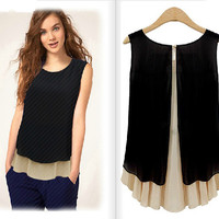 Summer Casual Slim Sleeveless Tops Double-layered Patchwork Chiffon Shirt [4970294020]
