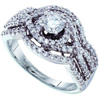 14k White Gold 1.02Ctw Diamond Ladies Bridal Ring: Ring