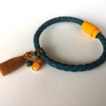 Tassel Bracelet,  Jewelry, Evil Eye Bracelet, Christmas Gift, Boho Chic, Yellow, Leather Bracelet, Gift İdea, Mustard Tassel, Fashionable