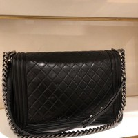 DCCKLO8 Authentic Le Boy Black Quilted Lambskin Leather Large Chanel Flap Bag SHW
