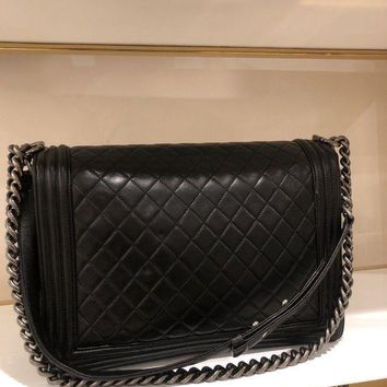 LMFON Authentic Le Boy Black Quilted Lambskin Leather Large Chanel Flap Bag SHW