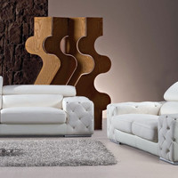 Divani Casa 2726B Modern Tufted Leather Sofa Set with Headrests and Crystals - VGBN2726B