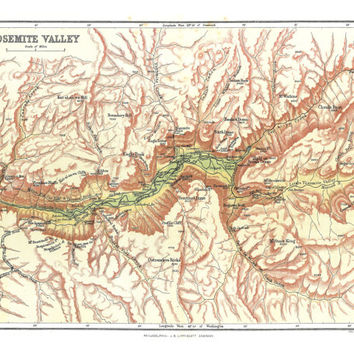 Yosemite Valley Shaded Relief Map / Vintage National Park map print / Yosemite Art / California Map 8x10, 11x14