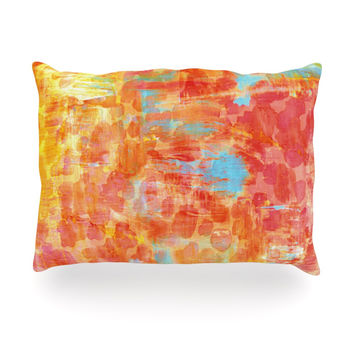 "Ebi Emporium ""Pastel Jungle"" Orange Red Oblong Pillow"