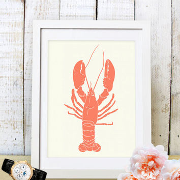 60% OFF SALE Coral Lobster Art, Coral Graphic Art, Printable Art, Lobster Print, Lobster Art, Wall Prints, Home Decor