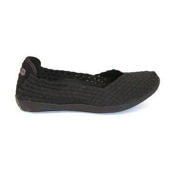 B Mev Bernie Mev Catwalk Vee - Black Woven Elasticized Slip-On Flat