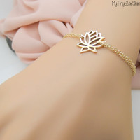 Lotus Bracelet Lotus Jewelry Yoga bracelet sterling Gold Lotus Bracelet Jewelry
