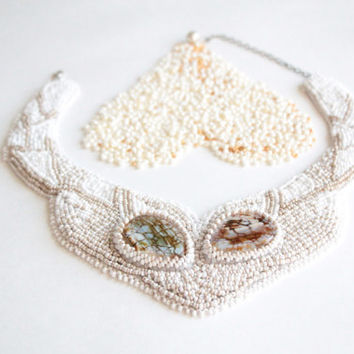 White cocktail necklace Bridal Statement bib lace necklace with agate stones Embroidery seed bead agate necklace Holiday New Year jewelry