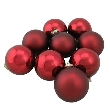 """9-Piece Shiny and Matte Burgundy Red Glass Ball Christmas Ornament Set 2.5"""" (65mm)"""