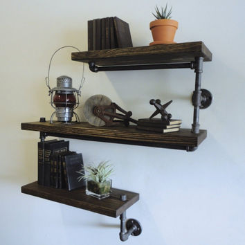 Industrial Galvanized Steel Pipe Reclaimed Wood Shelving Shelf