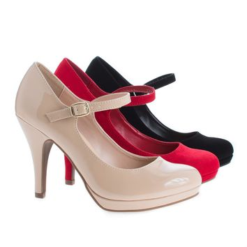 Dennis By Classified, Almond Toe Mary Jane Extra Padded Comfort Stiletto Pumps
