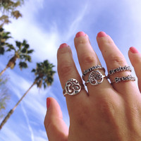 Sterling Silver Rings For Namaste, Breathe, Grateful, Om, and Tree of Life