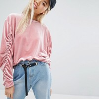 STYLENANDA Velvet Sweatshirt With Ruched Sleeves at asos.com
