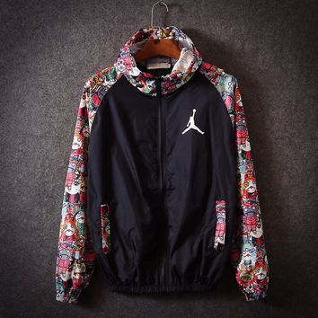 """JORDAN""Couple Casual Fashion Multicolor Pattern Print Long Sleeve Hoodie Cardigan Windbreaker Thin Coat"