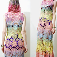 RESERVED // CROCHET Dress Rainbow Full Lace Long Maxi Ombre Sheer Long Vintage Bohemian Boho Hippie ooak Handmade xs s