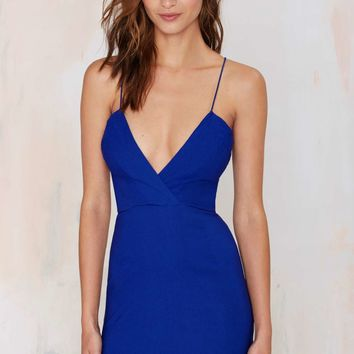 Billie Crossover Bodycon Dress - Blue