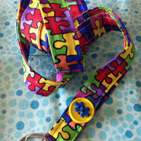 Autism Awareness Fabric Lanyard ID Badge Holder with Puzzle Button