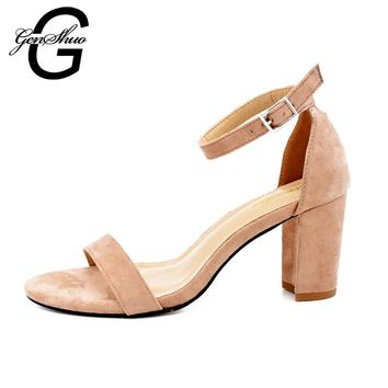 GENSHUO 2017 Ankle Strap Heels Women Sandals Summer Shoes Women Open Toe Chunky High H